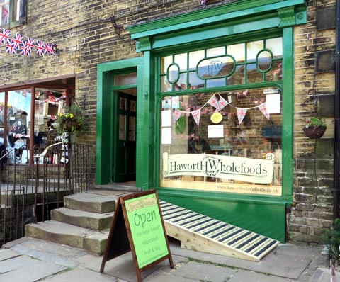 Photo of Haworth Wholefoods' shop at the top of Main Street, Haworth, near Keighley Yorkshire